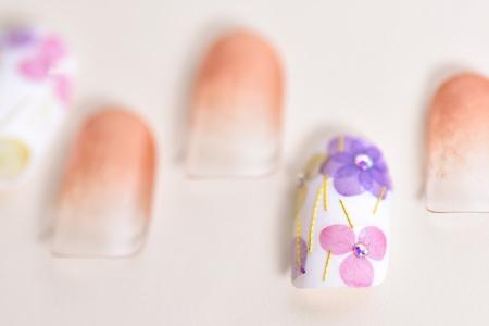 紫陽花ネイルとグラデアップ