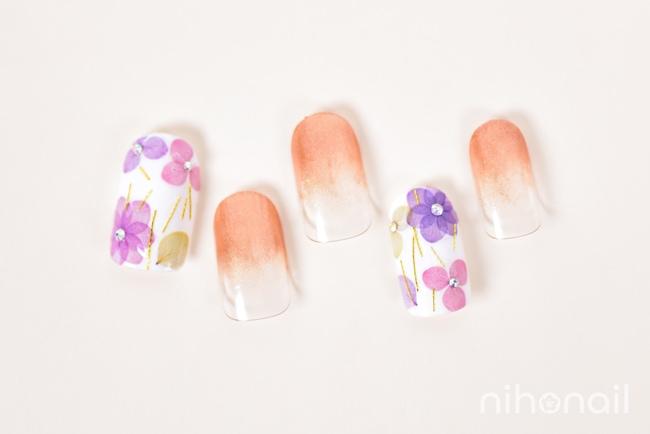 紫陽花ネイルとグラデ