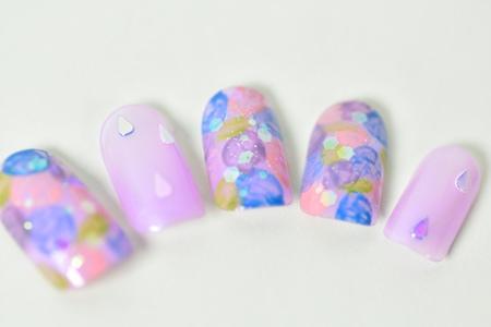 雨粒ホロの紫陽花ネイルアップ