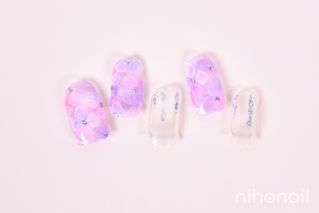紫陽花たらしこみネイル